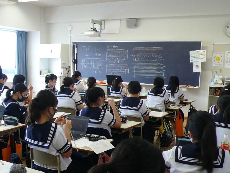 《中学2年》 家庭科  編み物の授業が進んでいます