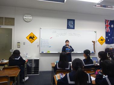 中1英語  スピーチコンテストのクラス内予選を行いました