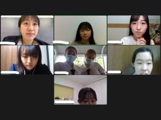 国際交流  中3生徒とオーミストン生徒とのオンライン交流